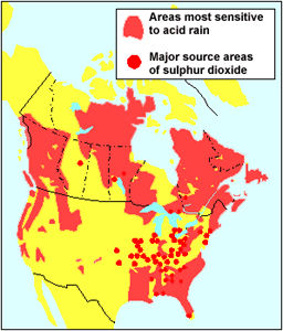 the serious problem of acid rain in canada Trees in scandinavia, western europe, southeastern canada, and the  northeastern  then we could look at the ozone-acid rain interaction here  of  these are important in what ultimately produces acidity in the atmosphere.